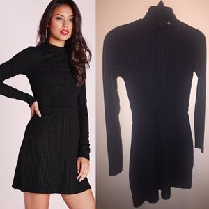 Missguided Black Ribbed Skater Dress Sz 4